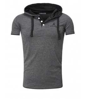 T-shirt contraste-polo Hooded- Akito Tanaka t-shirt contraste- Polo Hooded-Antrazithe/black