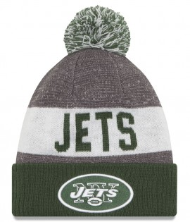 Bonnet Pompon New Era Sideline Bob New York Jets Vert Doublé Polaire Sport Knit