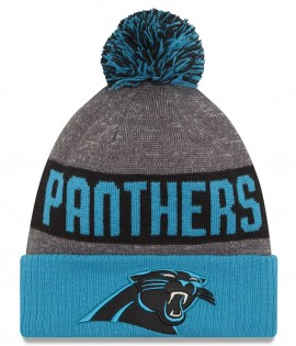 Bonnet Pompon New Era Sideline Bob Carolina Panthers Bleu Gris Doublé Polaire Sport Knit