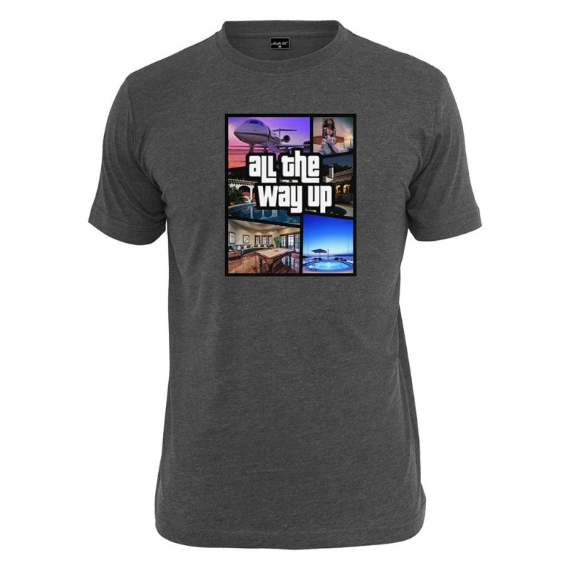 T Shirt Mister Tee All The Way Up Mashup Print Gris Fonc