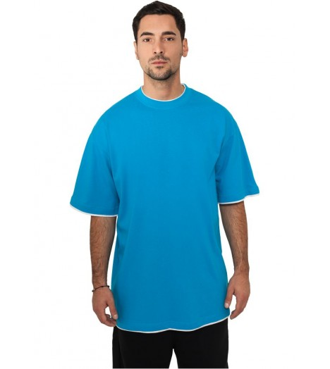 Tee-shirt extra long URBAN CLASSICS Contraste Turquoise / Blanc