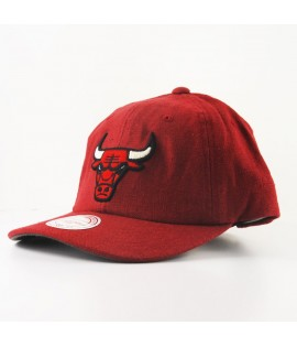 Casquette Courbée Mitchell & Ness Chicago Bulls NBA Rouge Linen