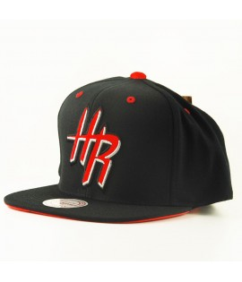 Casquette Mitchell & Ness Houston Rockets Snapback NBA Noir Orange Visière Velours