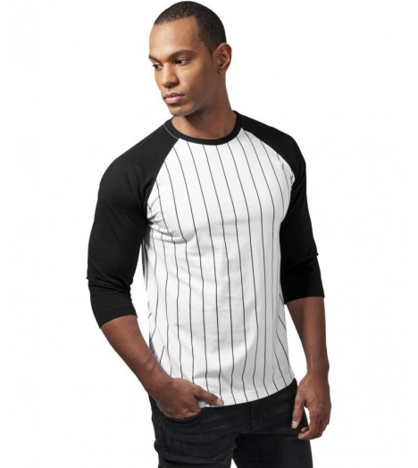 t shirt baseball urban classics manches 3 4 blanc noir. Black Bedroom Furniture Sets. Home Design Ideas