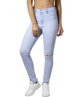 Jean Taille Haute Destroy Urban Classics Light Bleu Stretch Skinny Denim