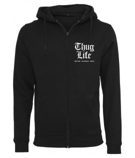 Sweat Zippé Thug Life Chest Cities Zip Hoody Noir