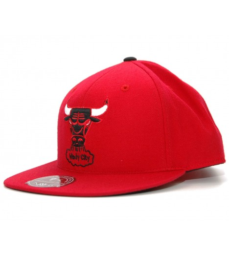 EXCLU! MITCHELL & NESS BULLS Chicago Rouge Logo Windy City