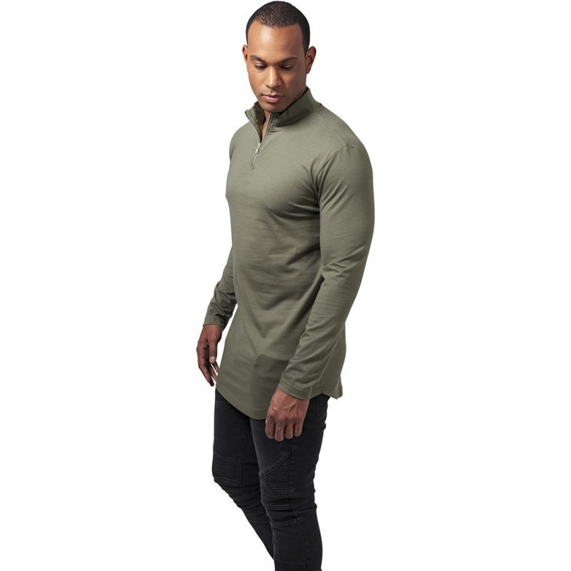 t shirt long col roul urban classics olive zip. Black Bedroom Furniture Sets. Home Design Ideas