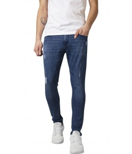 Jean Skinny Ripped Urban Cassics Denim Stretch Bleu Taille US