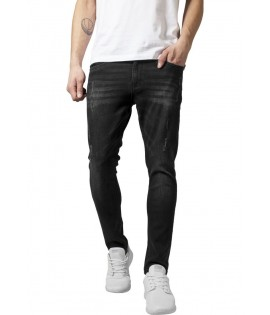 Jean Skinny Ripped Urban Cassics Denim Stretch Noir Taille US