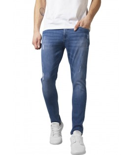 Jean Skinny Ripped Urban Cassics Denim Stretch Bleu Délavé Taille US