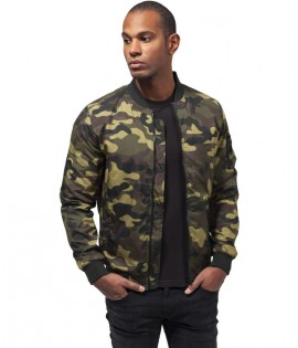 Bomber Léger Wood Camo Urban Classics Camouflage Olive