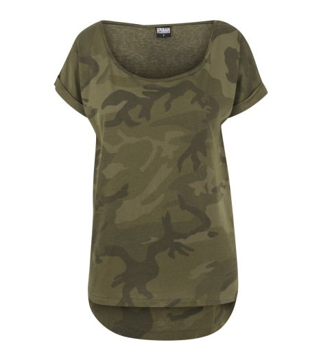0950b89a2270f Tee-shirt Long Femme Urban Classics Olive Camouflage Shaped