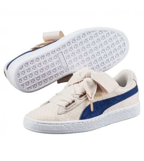 puma basket heart denim oatmeal