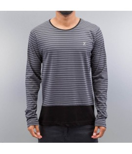 T-shirt Manches Longues Cazzy Clang Stripes II Gris