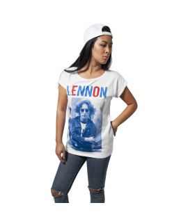 T-shirt John Lennon Bluered Blanc