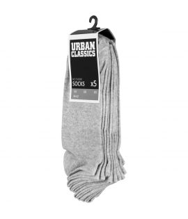 No Show Socks 5-Pack Urban Classics Gris