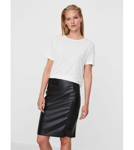 51302b4fad8ae Jupe Simili Vero Moda Rib Knee Butter Skirt Noir - Prestige Center