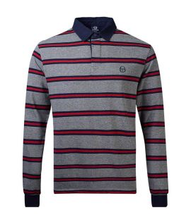Polo Rayé Sergio Tacchini Lutmar Gris Rouge Manches Longues