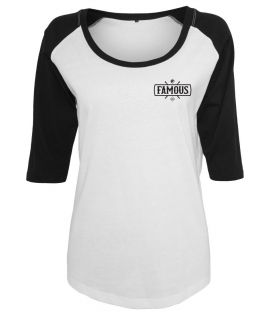 T-shirt Famous Stars and Straps Ladies Chaos Patch Raglan Tee Blanc Noir