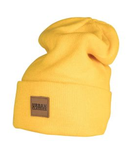 Bonnet Long Jaune URBAN CLASSICS avec patch cuir