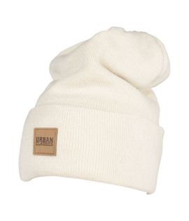 Bonnet Long Beige URBAN CLASSICS avec patch cuir
