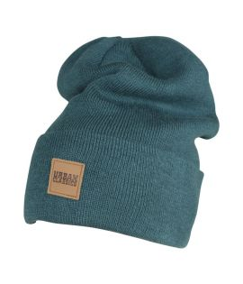 Bonnet Long Bleu URBAN CLASSICS avec patch cuir