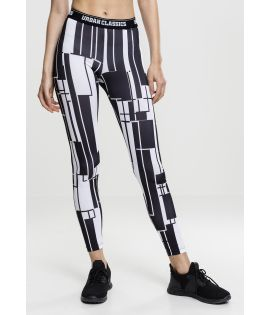 Legging Urban Classics Femme Graphic Sports Noir/Blanc