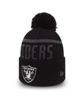 Bonnet Pompon New Era NFL Black Collection Oakland Raiders Doublé Polaire