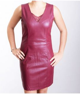 Robe Cuir Vero Moda Ridda Butter Short Dress Bordeaux